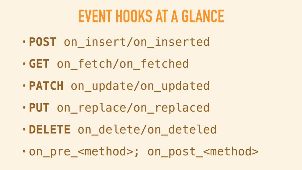 EVENT HOOKS AT A GLANCE • POST on_insert/on_ins...