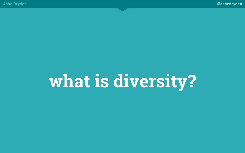 Ashe Dryden @ashedryden what is diversity?