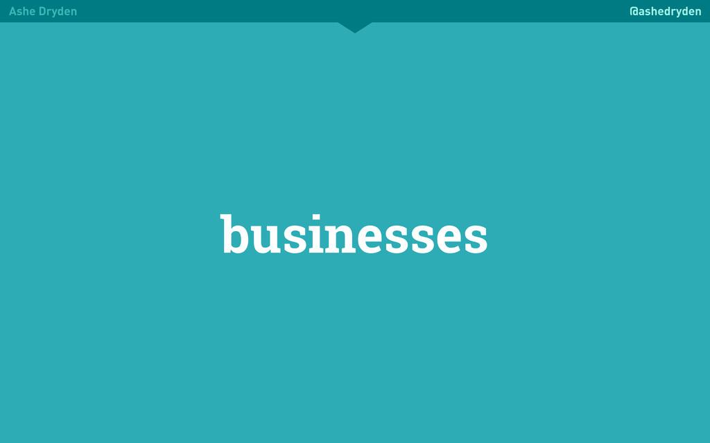 Ashe Dryden @ashedryden businesses