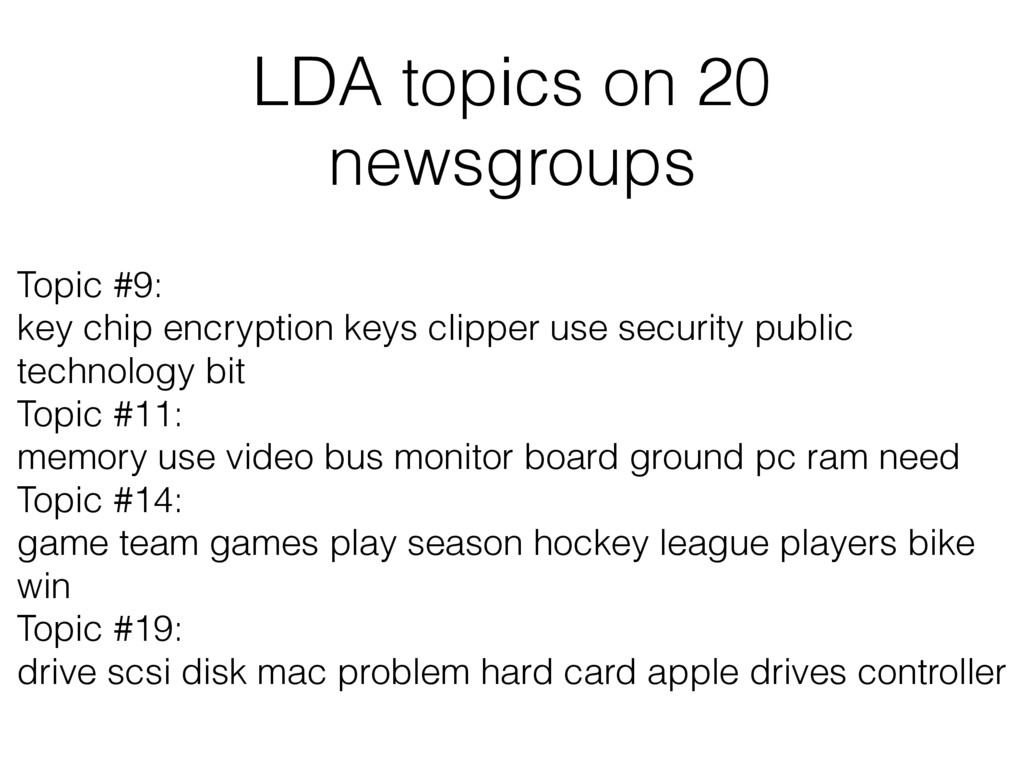 LDA topics on 20 newsgroups Topic #9: key chip ...