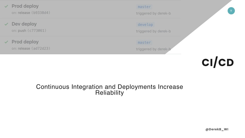 @DerekB_WI 9 CI/CD Continuous Integration and D...