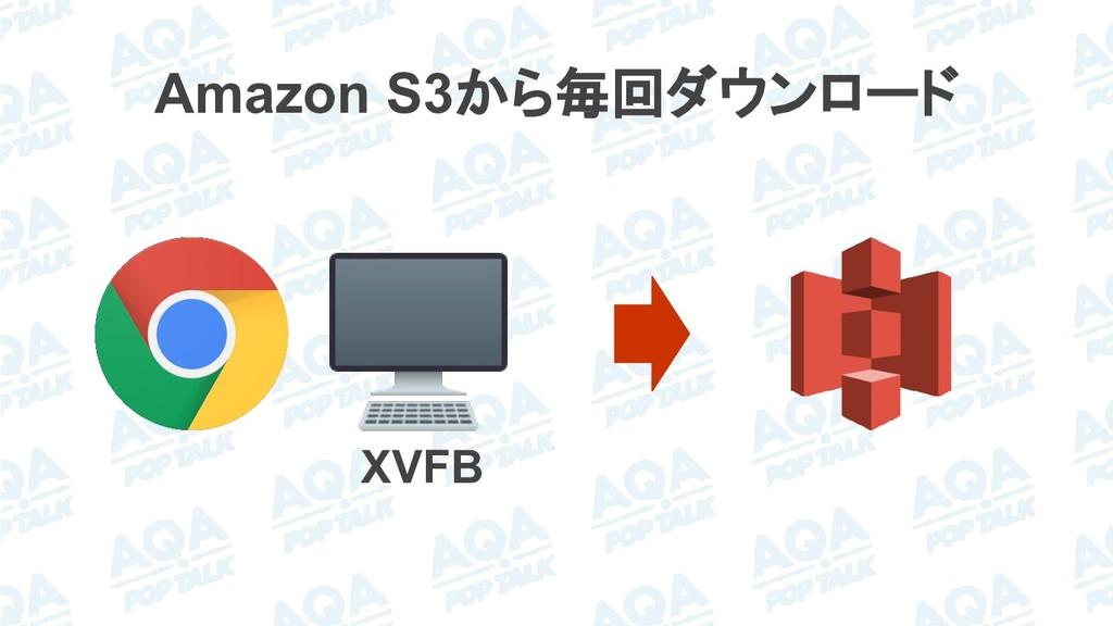 Amazon S3から毎回ダウンロード XVFB