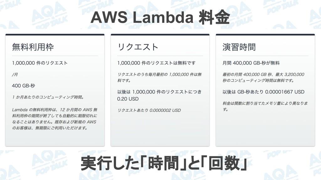 AWS Lambda 料金 実行した「時間」と「回数」