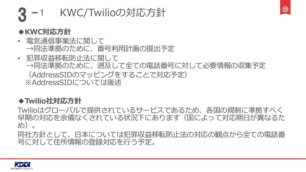 KWC/Twilioの対応方針 ◆KWC対応方針 • 電気通信事業法に関して →同法準拠のため...