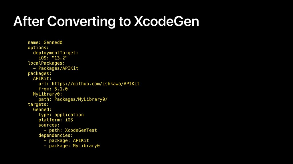 After Converting to XcodeGen name: Genned0 opti...