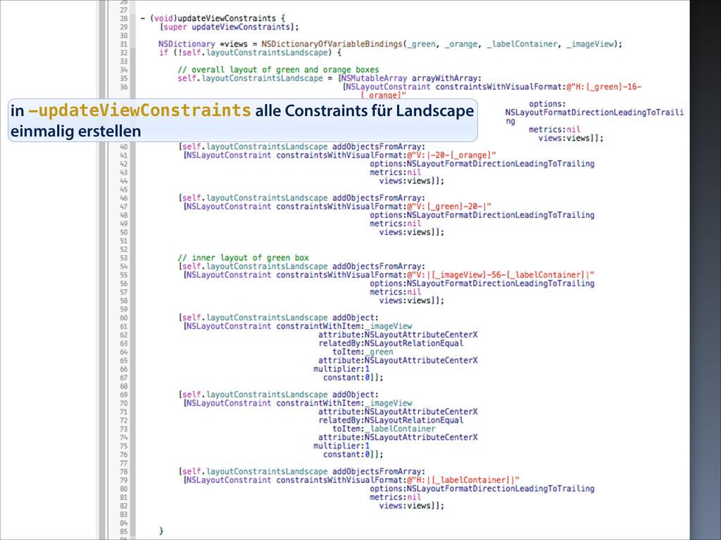 in -updateViewConstraints alle Constraints für ...