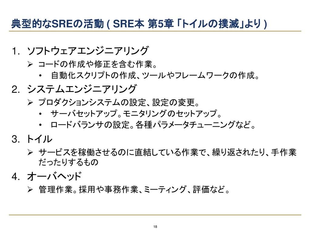 18 典型的なSREの活動 ( SRE本 第5章 「トイルの撲滅」より ) 1. ソフトウェア...