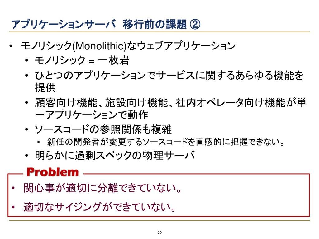 30 アプリケーションサーバ 移行前の課題 ② • モノリシック(Monolithic)なウェ...
