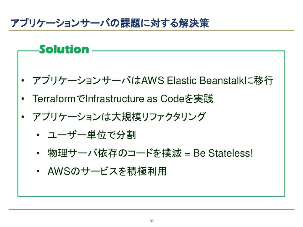 32 アプリケーションサーバの課題に対する解決策 • アプリケーションサーバはAWS Elas...