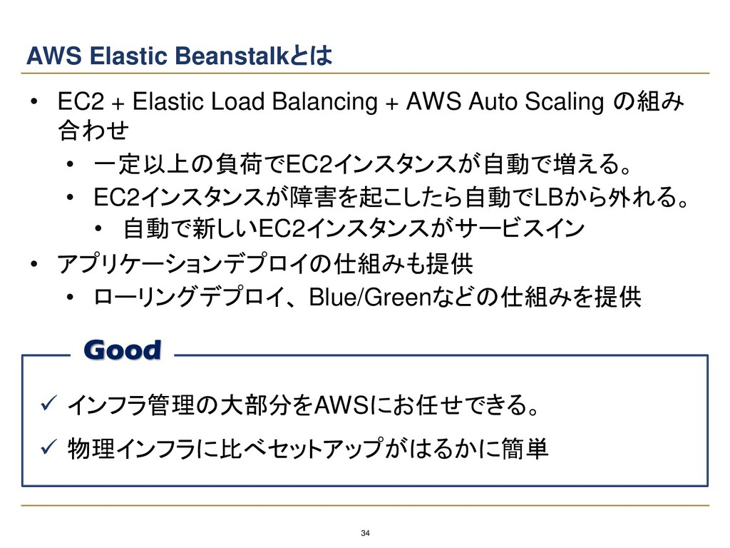 34 AWS Elastic Beanstalkとは • EC2 + Elastic Load...