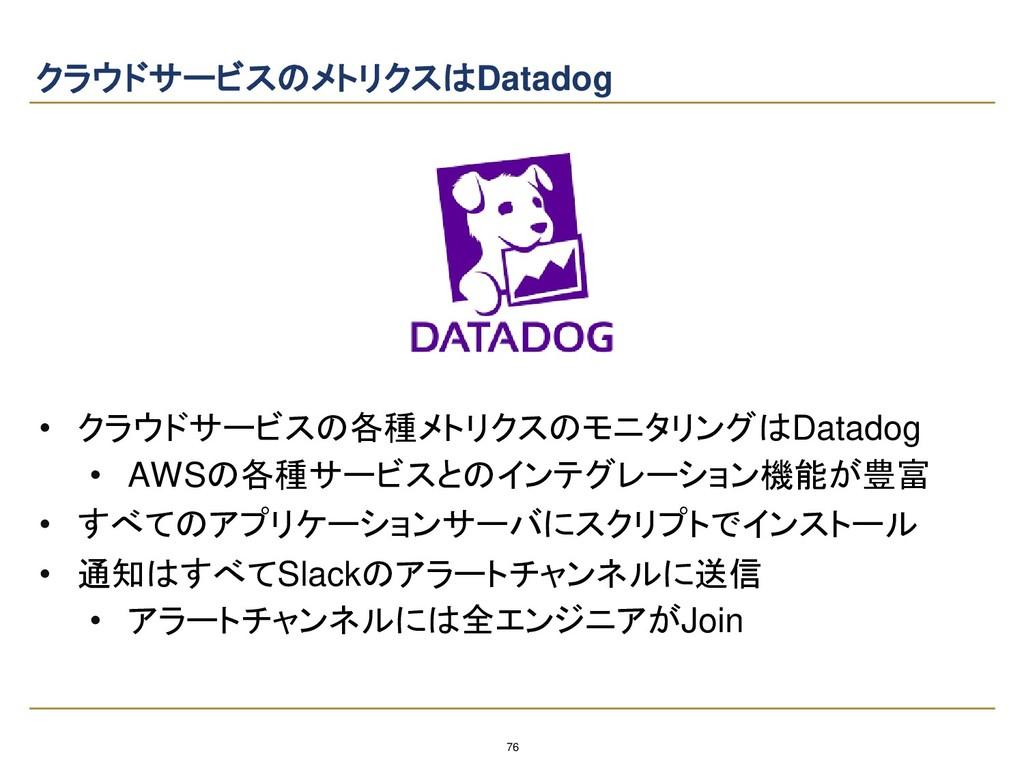76 クラウドサービスのメトリクスはDatadog • クラウドサービスの各種メトリクスのモニ...