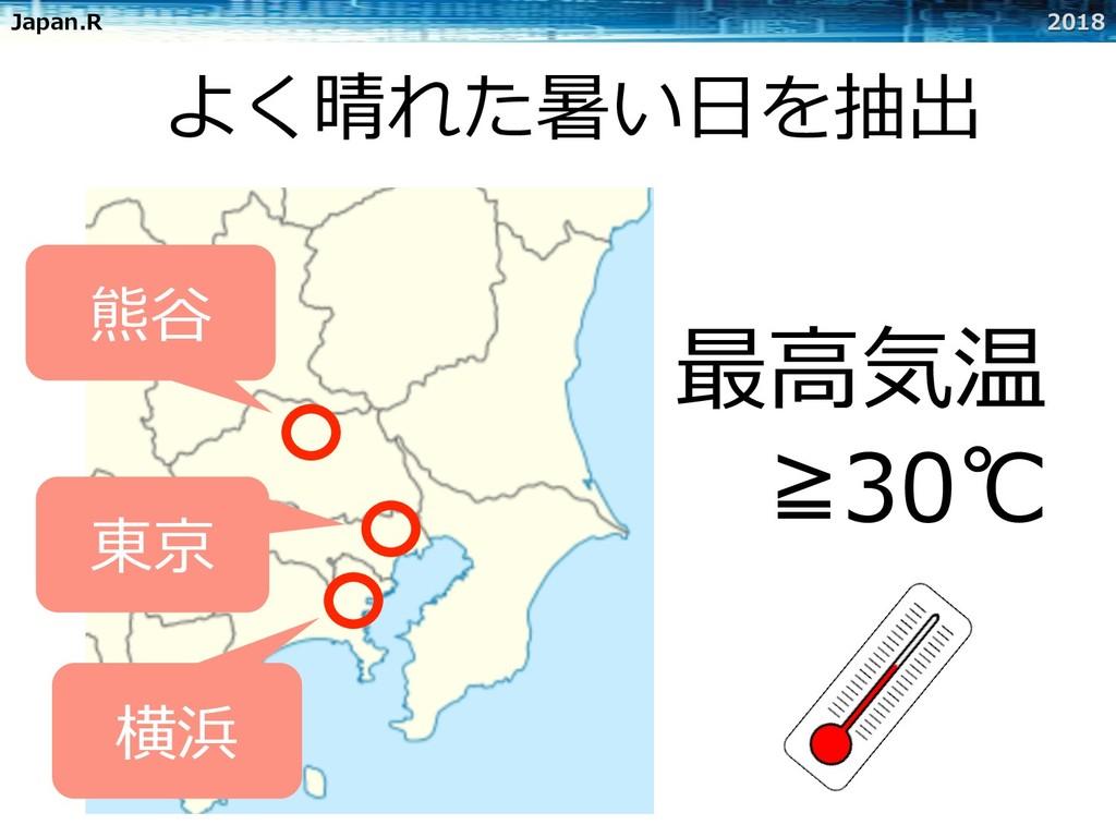 Japan.R 2018 よく晴れた暑い⽇を抽出 横浜 東京 熊⾕ 最⾼気温 ≧30℃