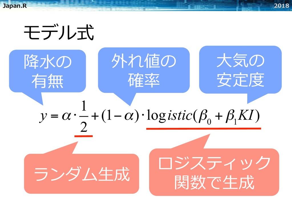 Japan.R 2018 モデル式 外れ値の 確率 ⼤気の 安定度 y =α ⋅ 1 2 +(...