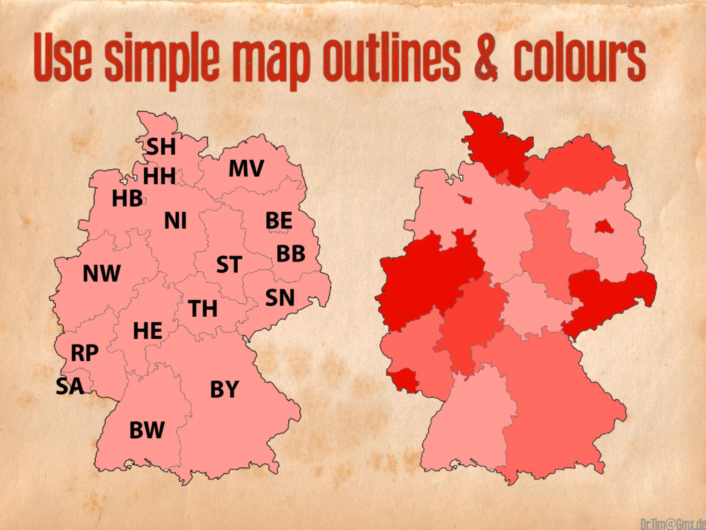 Use simple map outlines & colours NW BB BE ST T...