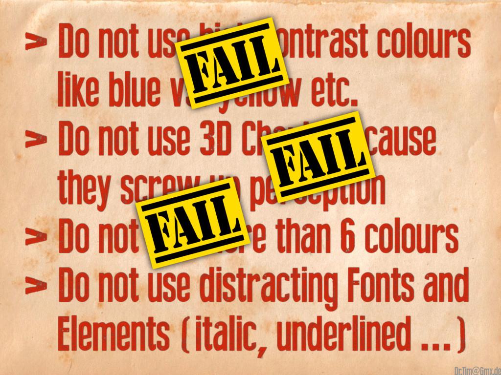 > Do not use high contrast colours like blue vs...
