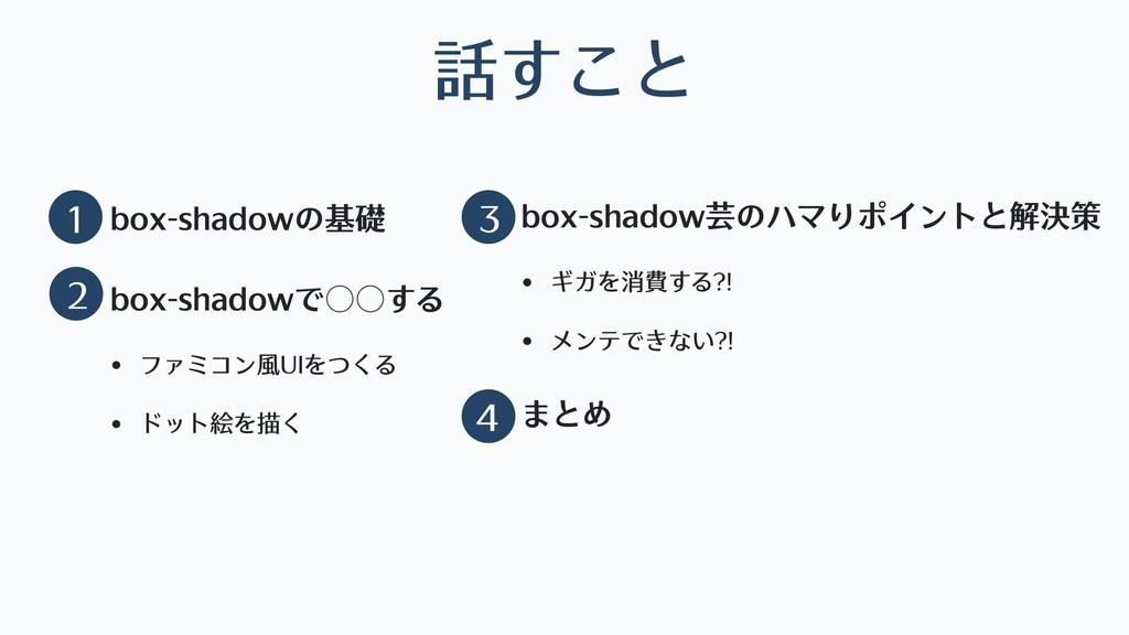 話すこと • box-shadowの基礎 • box-shadowで○○する • ファミコン⾵...