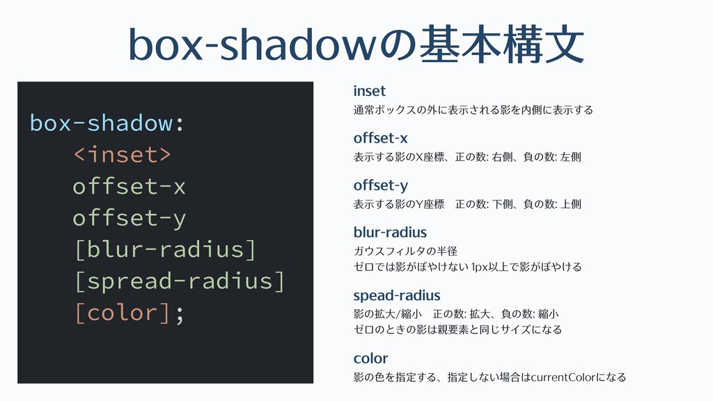 box-shadowの基本構⽂ inset 通常ボックスの外に表⽰される影を内側に表⽰する ...