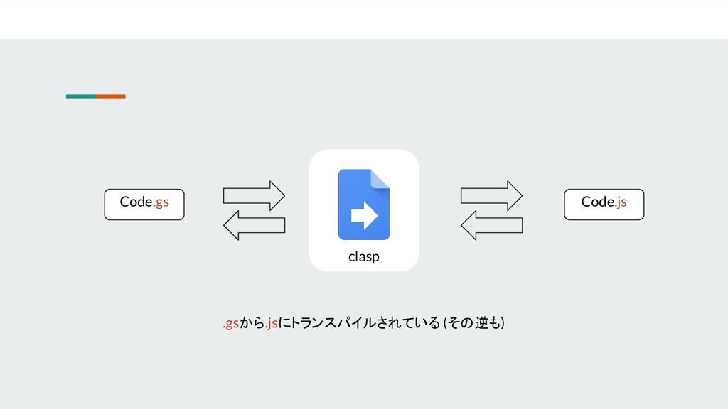 clasp Code.gs Code.js .gsから.jsにトランスパイルされている (その...