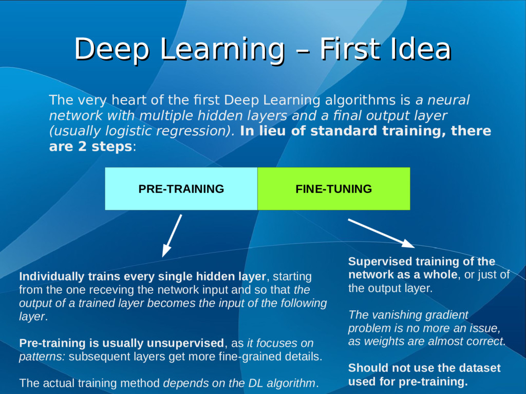 Deep Learning – First Idea Deep Learning – Firs...