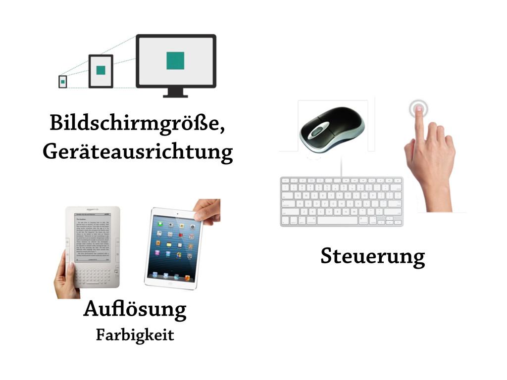 Bildschirmgröße, Geräteausrichtung Steuerung Au...