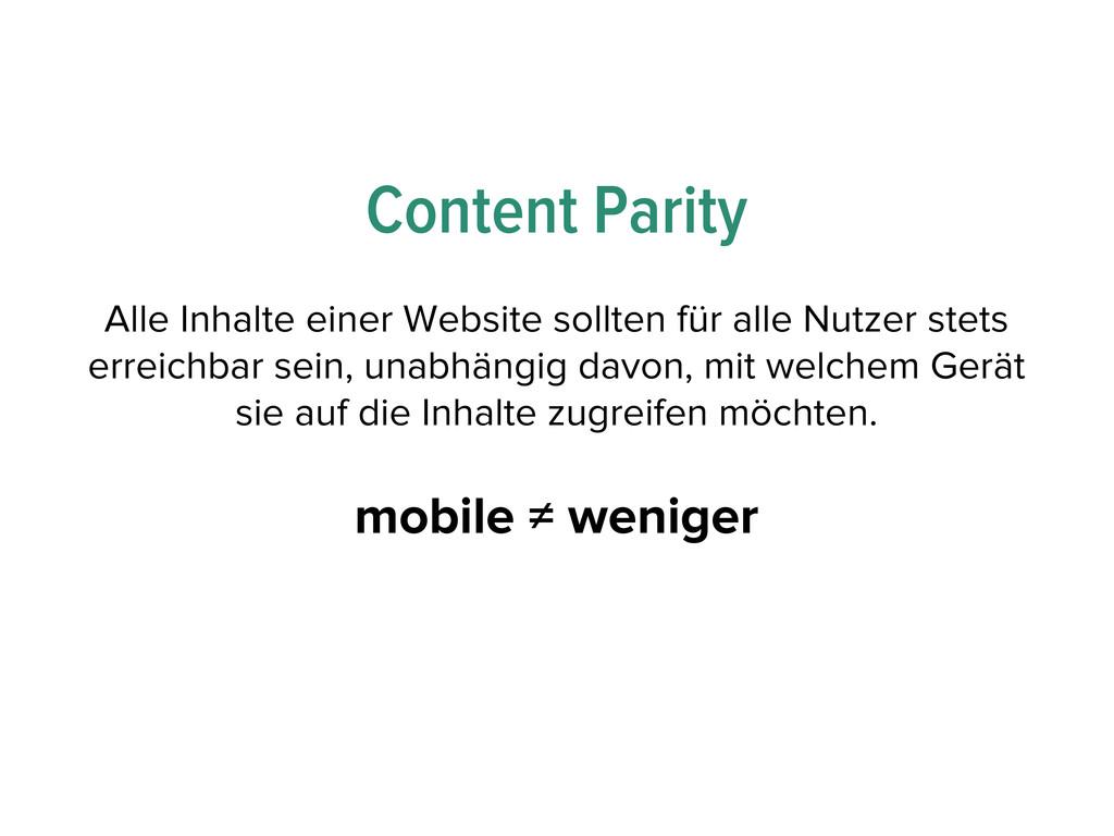 Content Parity Alle Inhalte einer Website sollt...