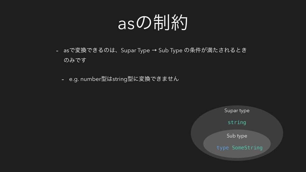 asͷ੍ - asͰมͰ͖ΔͷɺSupar Type → Sub Type ͷ͕݅ຬͨ...