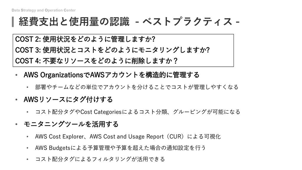 Data Strategy and Operation Center 経費支出と使用量の認識 ...