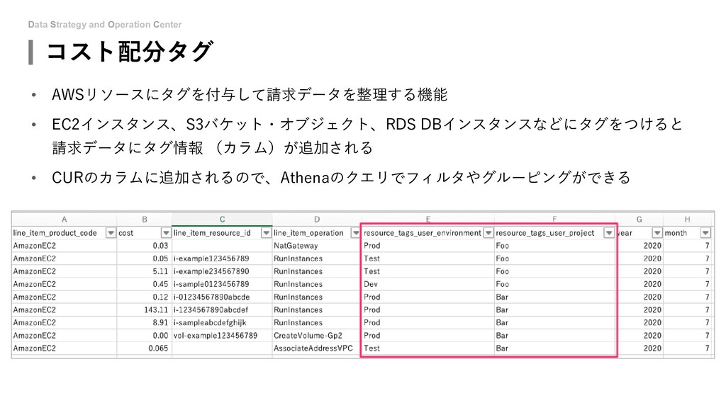 Data Strategy and Operation Center コスト配分タグ • AW...