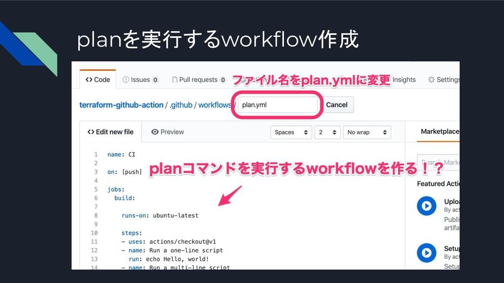 planを実行するworkflow作成