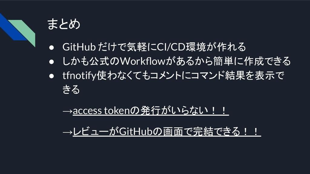 まとめ ● GitHub だけで気軽にCI/CD環境が作れる ● しかも公式のWorkflowが...