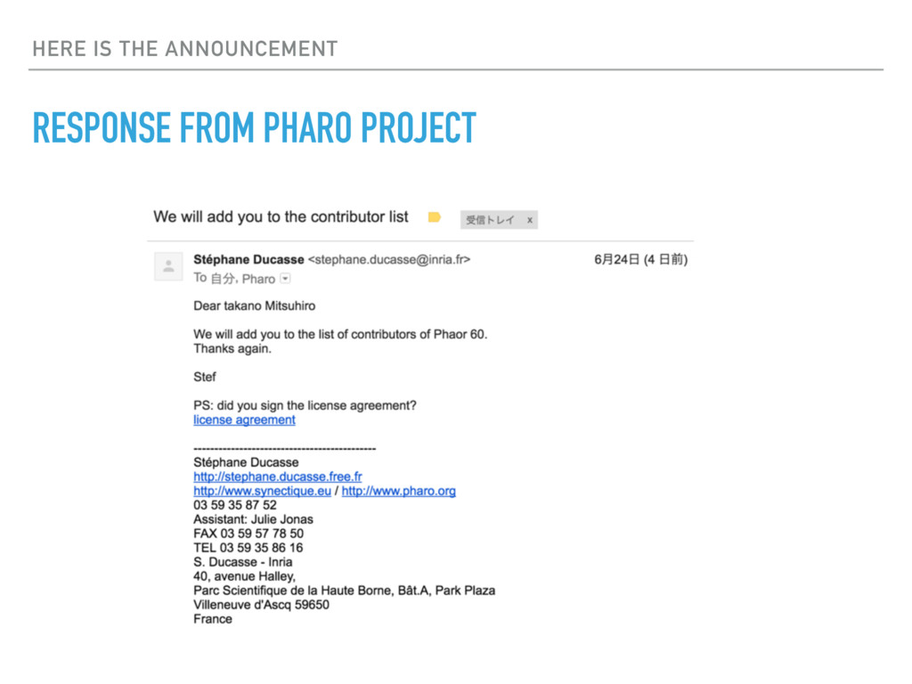 HERE IS THE ANNOUNCEMENT RESPONSE FROM PHARO PR...