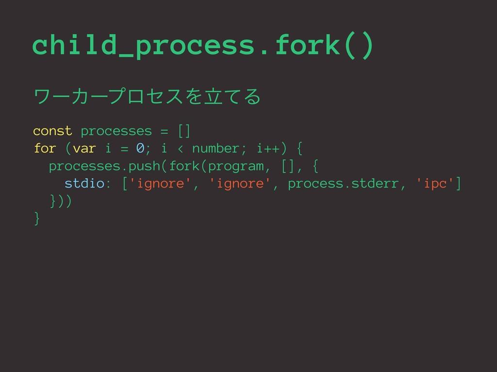 child_process.fork() ϫʔΧʔϓϩηεΛཱͯΔ const process...