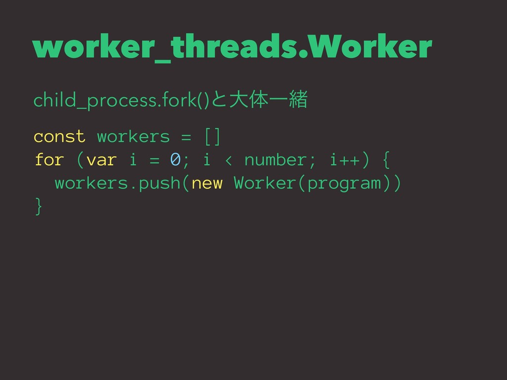 worker_threads.Worker child_process.fork()ͱେମҰॹ...