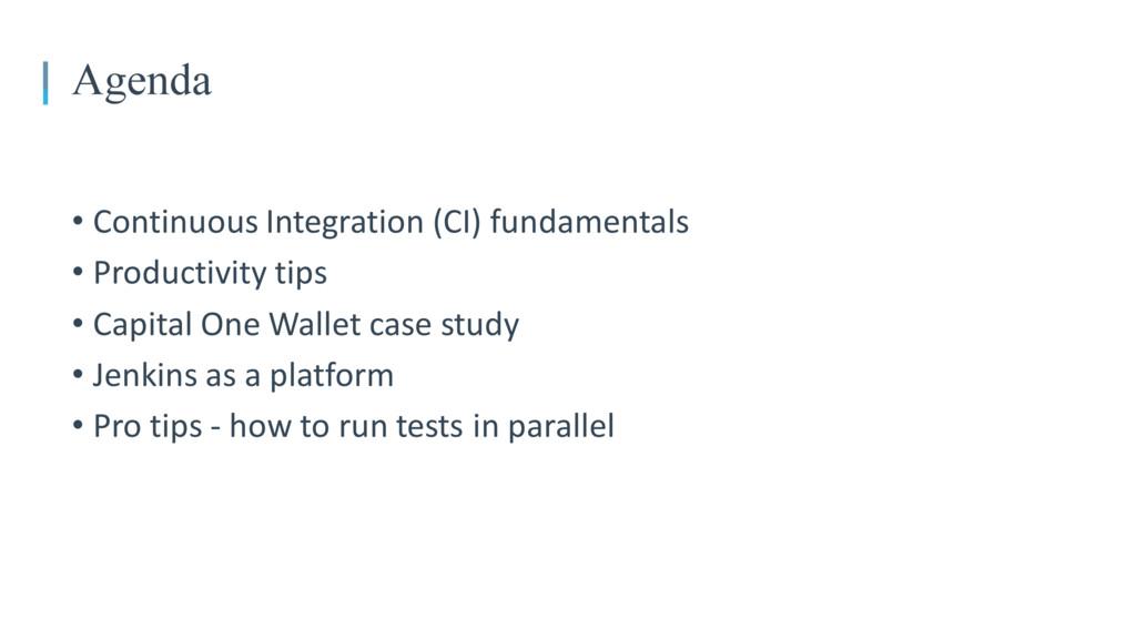 • Continuous Integration (CI) fundamentals • Pr...