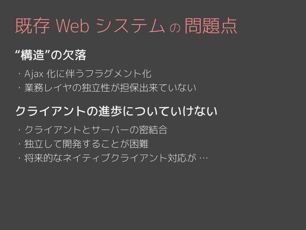 """既存 Web システム の 問題点 """"構造""""の欠落 ! ・Ajax 化に伴うフラグメント化 ・..."""