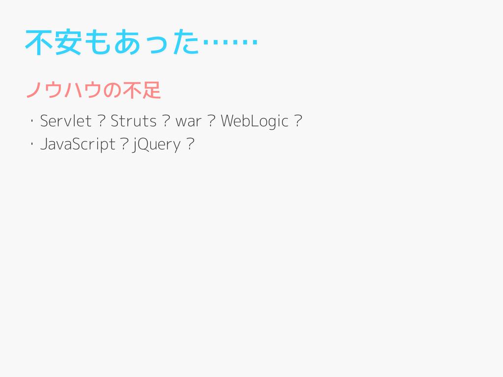 不安もあった…… ノウハウの不足 ! ・Servlet ? Struts ? war ? We...
