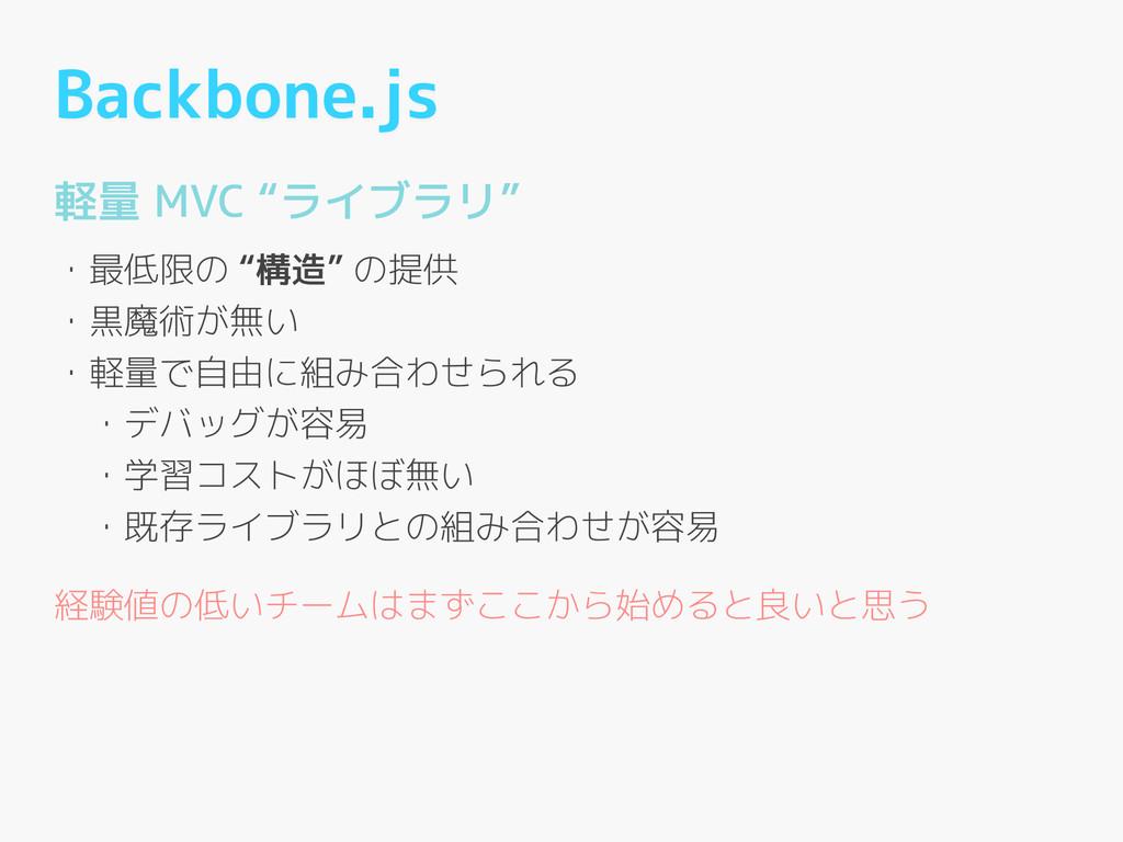 """Backbone.js 軽量 MVC """"ライブラリ"""" ! ・最低限の """"構造"""" の提供 ・黒魔..."""