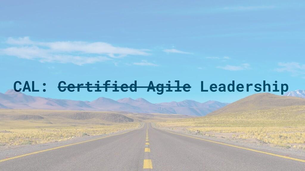 CAL: Certified Agile Leadership