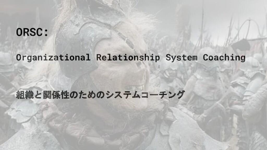 ORSC: Organizational Relationship System Coachi...