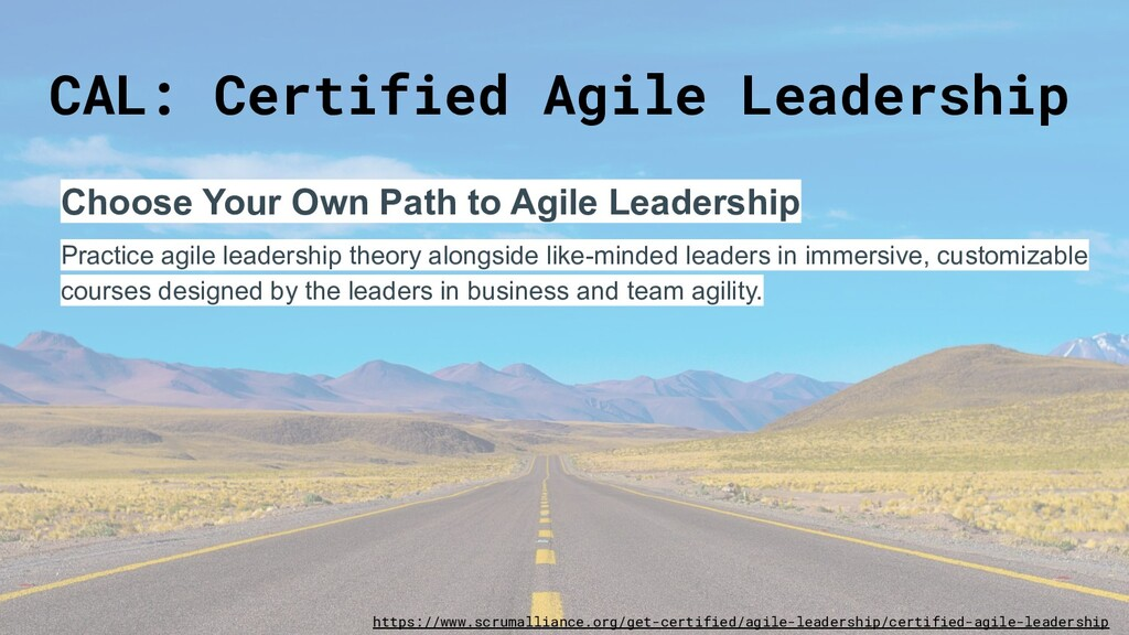 CAL: Certified Agile Leadership Choose Your Own...