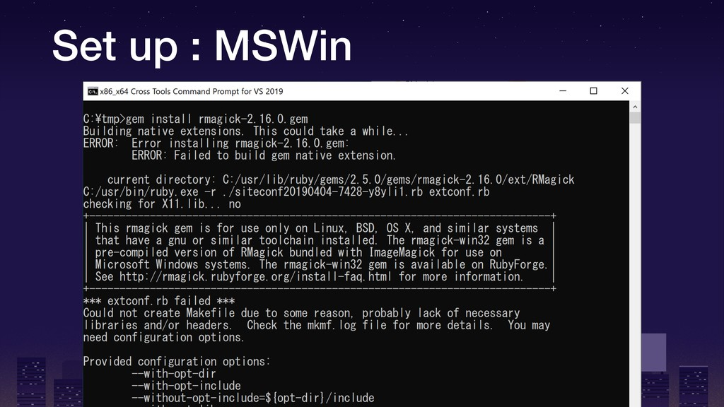 Set up : MSWin