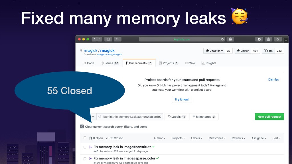 Fixed many memory leaks  55 Closed