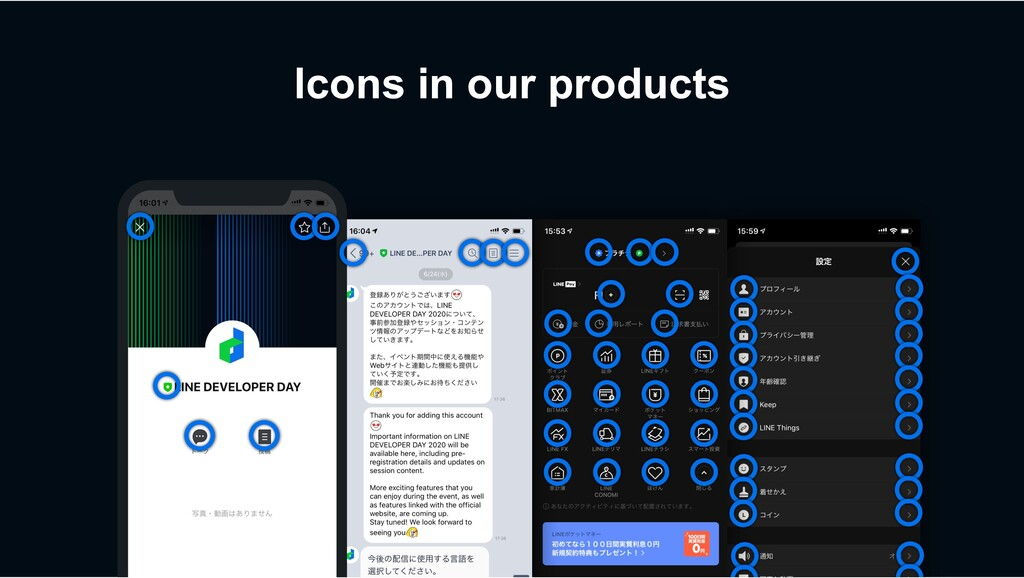 Icons in our products