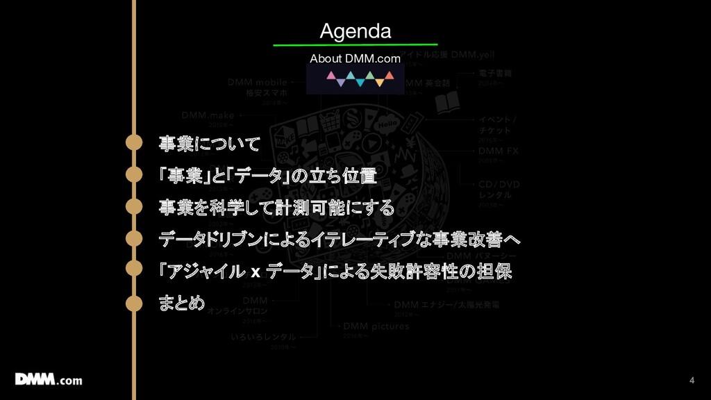 4 Agenda About DMM.com 事業について 「事業」と「データ」の立ち位置 事...