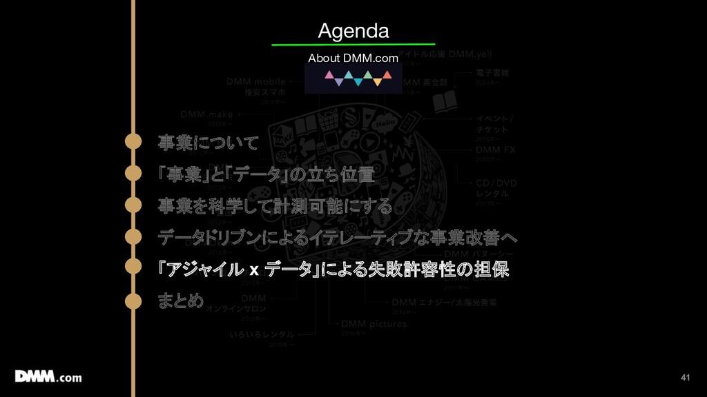 41 Agenda About DMM.com 事業について 「事業」と「データ」の立ち位置 ...