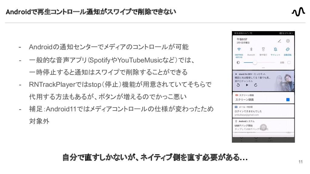 - Androidの通知センターでメディアのコントロールが可能 - 一般的な音声アプリ(Spo...