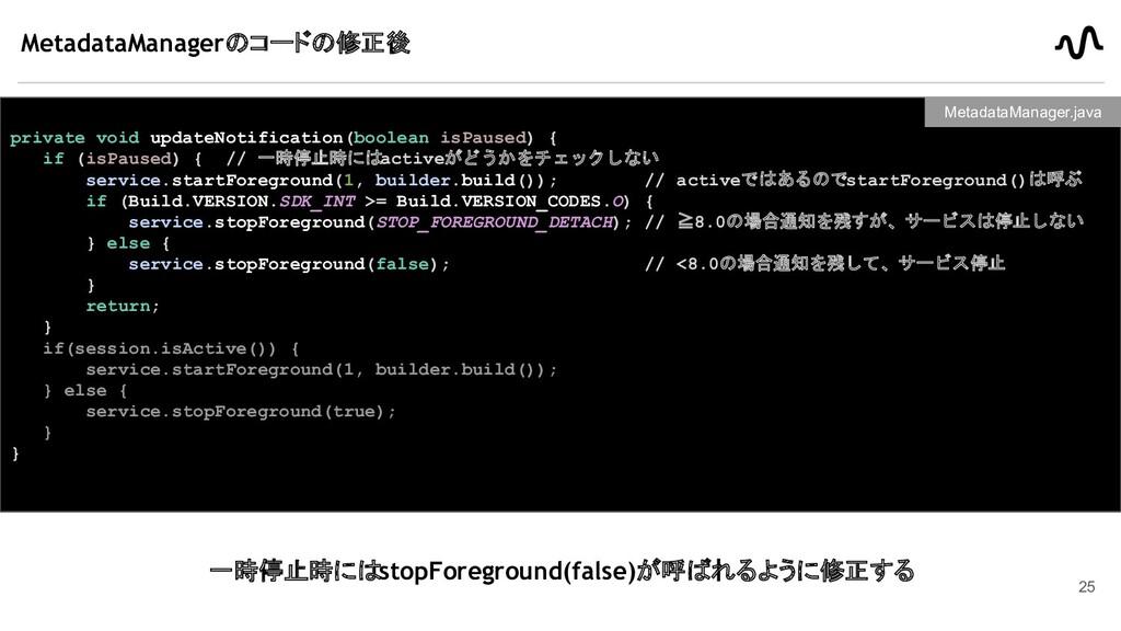 MetadataManagerのコードの修正後 private void updateNoti...