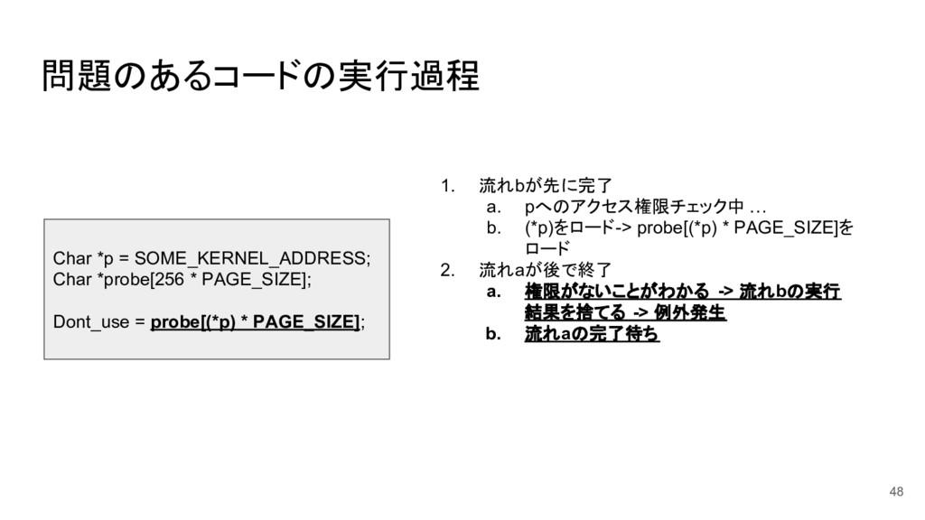問題のあるコードの実行過程 48 Char *p = SOME_KERNEL_ADDRESS;...