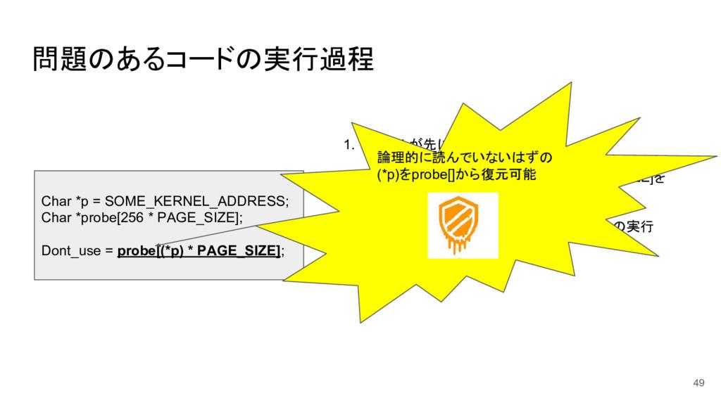 問題のあるコードの実行過程 49 Char *p = SOME_KERNEL_ADDRESS;...