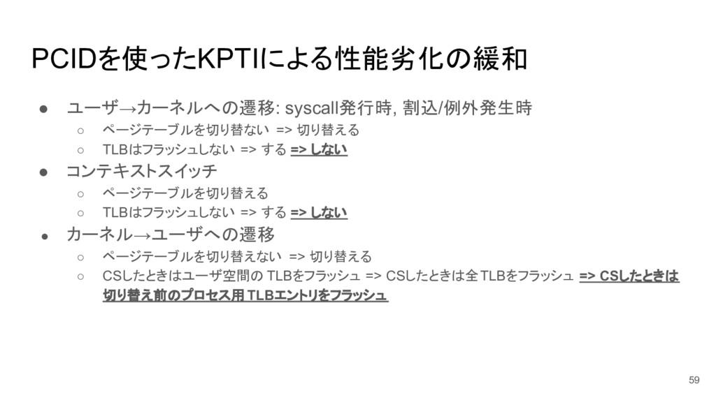 PCIDを使ったKPTIによる性能劣化の緩和 ● ユーザ→カーネルへの遷移: syscall発...